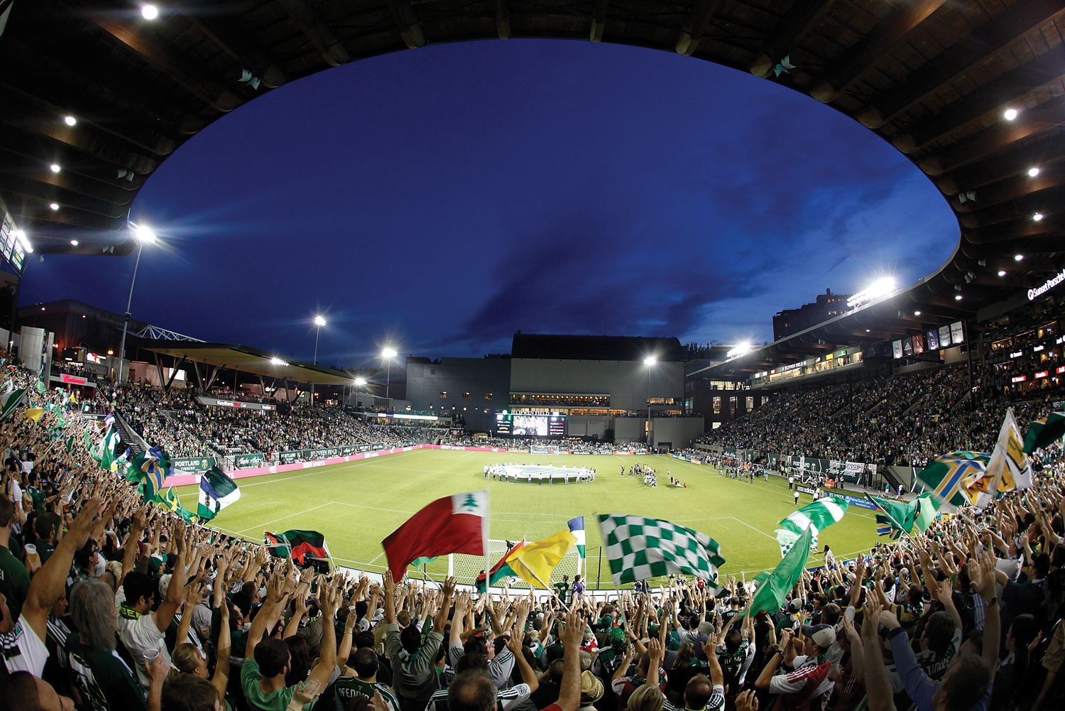 The Portland Timbers play their home games at Jeld-Wen Field, one of 14 Major League Soccer stadiums designed specifically for soccer. Photo by Jonathan Ferrey/Getty Images