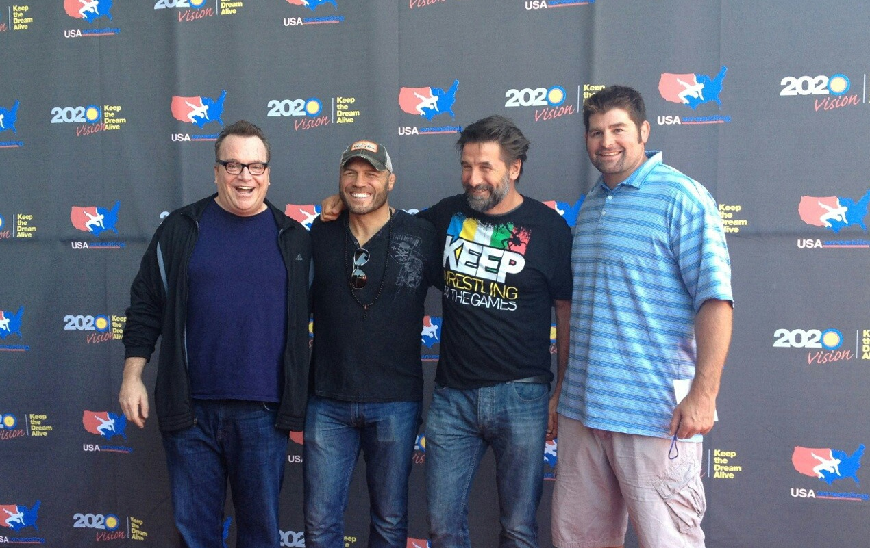Tom Arnold, Randy Couture, Billy Baldwin and Stephen Neal on the red carpet before the United 4 Wrestling exhibition.