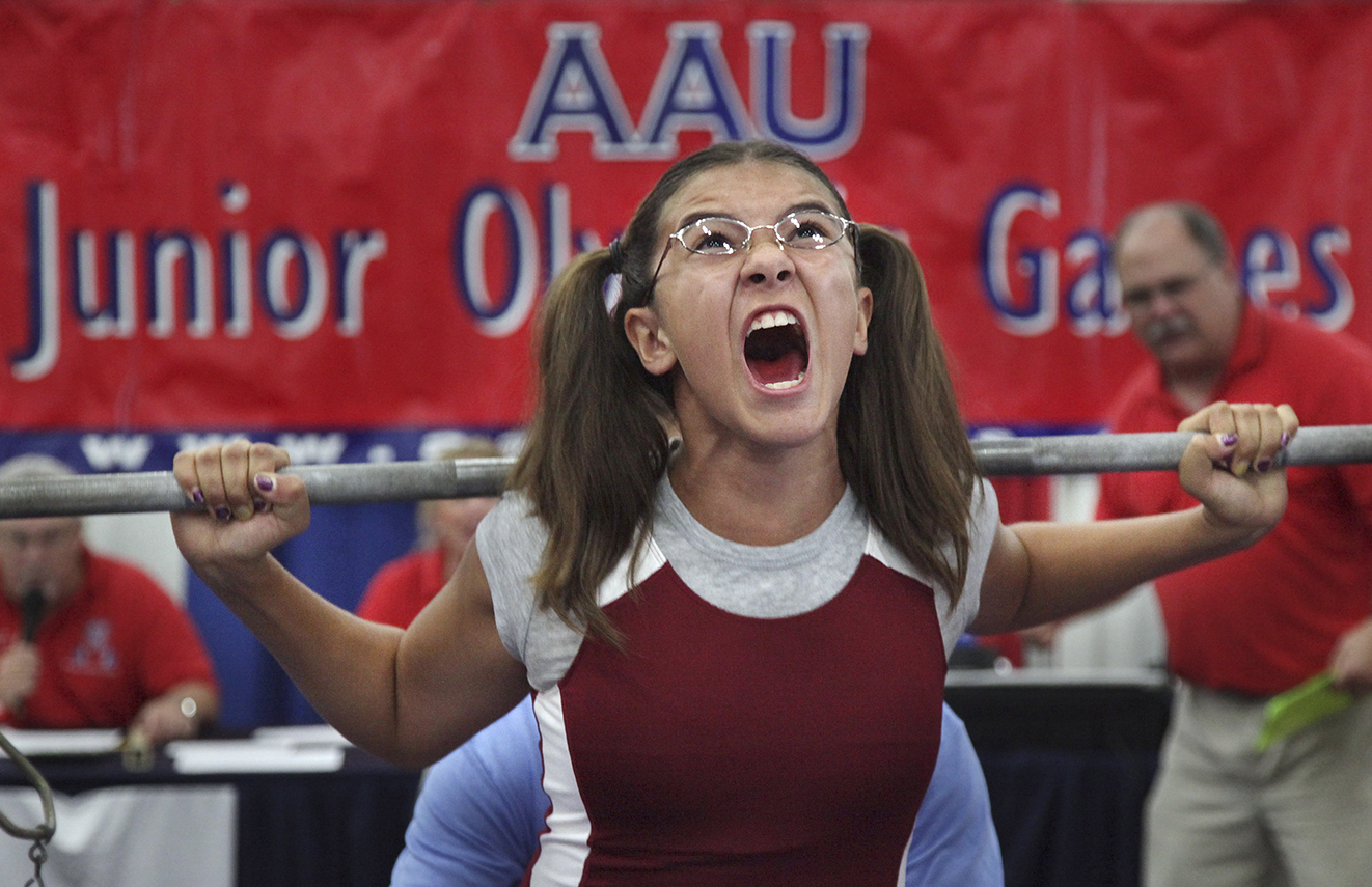 The Amateur Athletic Union's Junior Olympic Games is the largest youth multi-sport event in the United States. Athletes compete over the course of 11 days in nearly 20 events, including weightlifting. Image from Mayra Beltran/Houston Chronicle/AP Images