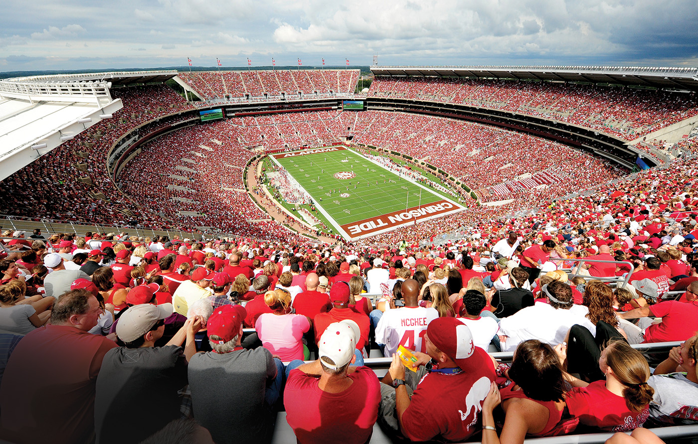Bryant-Denny Stadium is home to the Alabama Crimson Tide, who have won the national championship three of the last four years. Photo courtesy of Lance King/Replay Photos/Getty Images