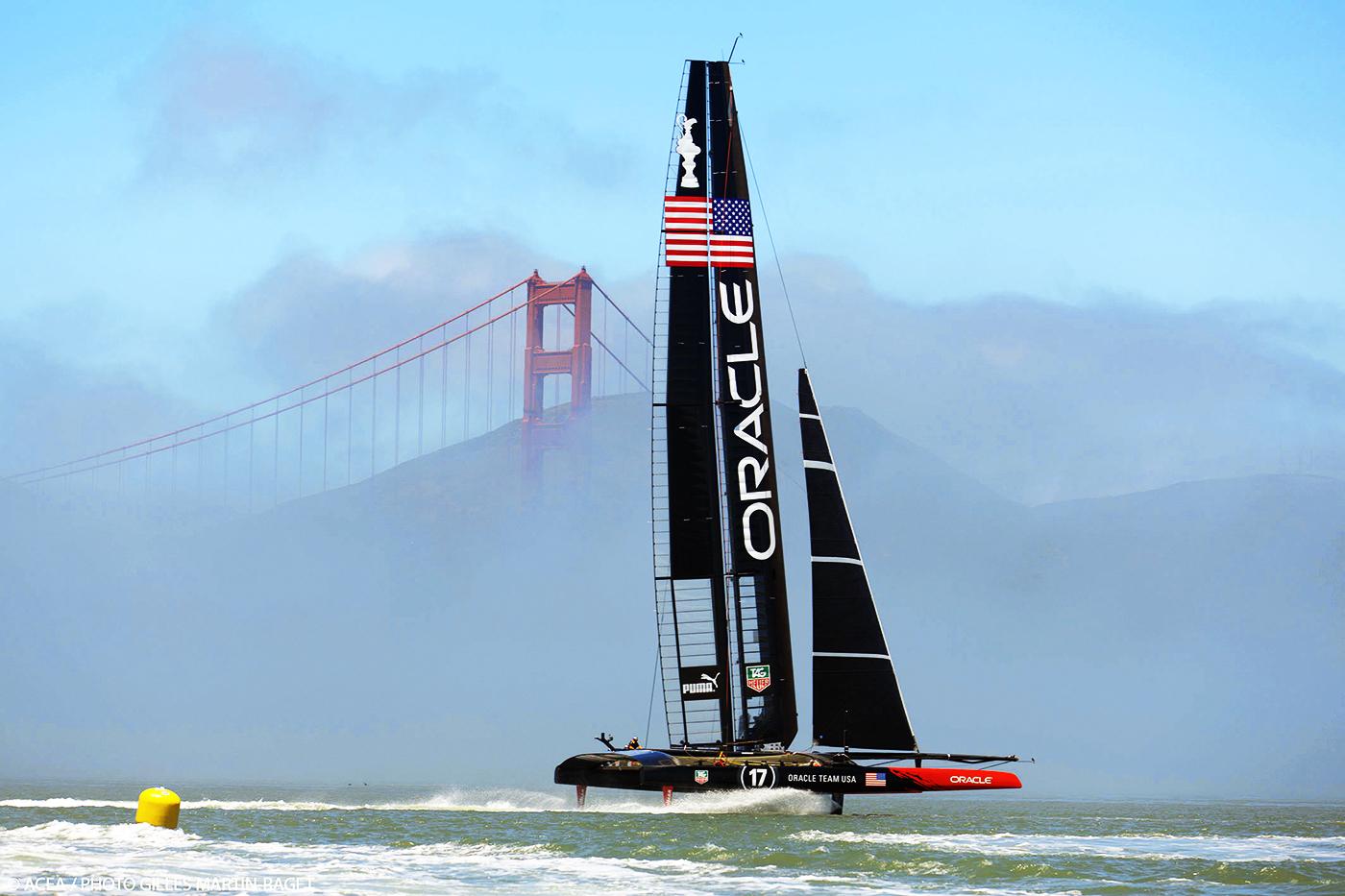 Oracle Team USA, owned by Larry Ellison, is the defending America's Cup champion. The team selected San Francisco as the venue for the 34th edition of one of the oldest sporting events in the world. Image courtesy of Gilles Martin-Raget/ACEA