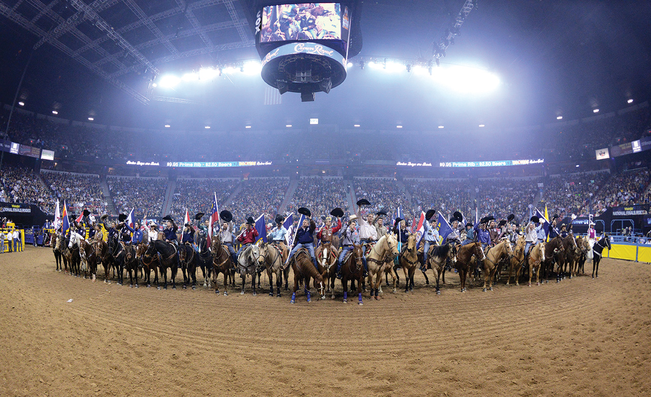 The annual Wrangler National Finals Rodeo, staged at the Thomas & Mack Center at the University of Nevada–Las Vegas, has become a tradition in the popular city. Photo courtesy of the Las Vegas News Bureau
