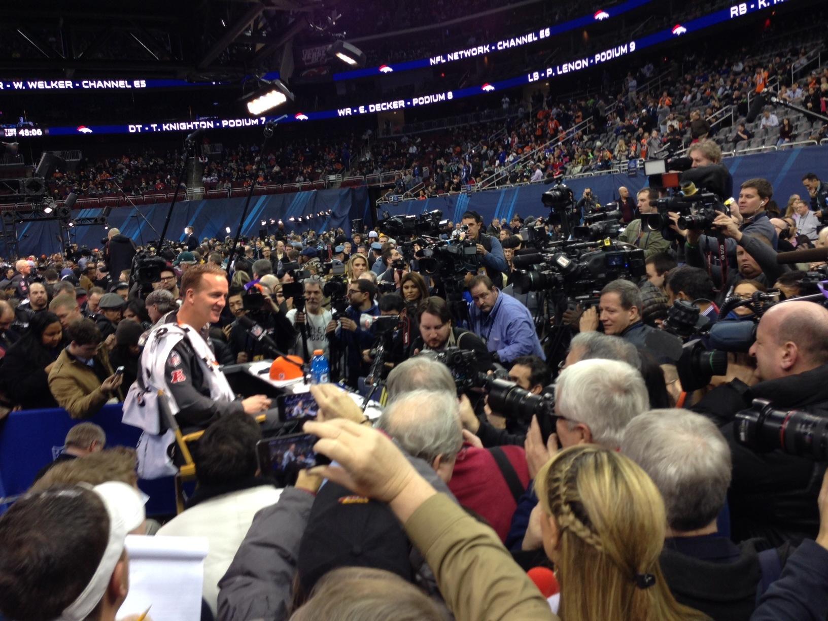 Peyton Manning addresses the media.