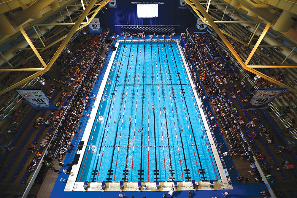 The 2013 USA Swimming Phillips 66 National Championships and World Trials were staged at the Indiana University Natatorium, one of many venues in Indianapolis. Photo courtesy of Streeter Lecka/Getty Images