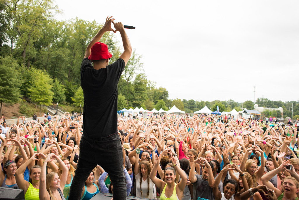 MC Yogi kept the crowd fired up even after several hours of yoga practice. Photo by Joy Hmielewski for Wanderlust Festival.