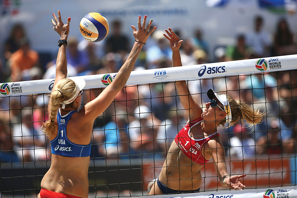 The ASICS World Series of Beach Volleyball is an event launched in 2013 by Leonard Armato, the  founder of the AVP Tour. The event in Long Beach, California, attracts the top players in the world. Photo courtesy of oe Scarnici/Getty Images