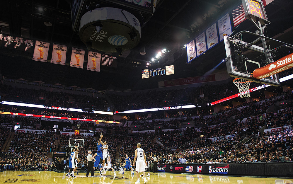 The San Antonio Spurs won the 2013–2014 NBA title and began the playoffs with a series at AT&T Center in San Antonio against the Dallas Mavericks. Photo courtesy of Jerome Miron/USA Today Sports