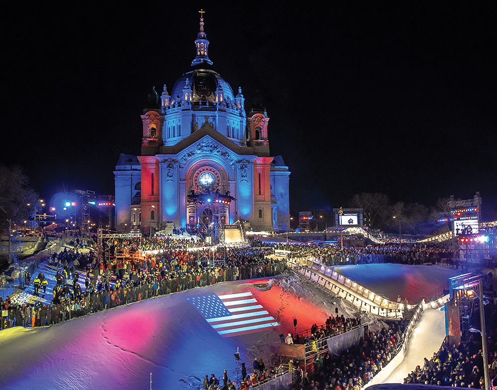 The Red Bull Crashed Ice World Championships have stopped in St. Paul, Minnesota, for the past four years, with an ice course that runs on the grounds of the city's cathedral. Photo courtesy of Jeremy Jordan