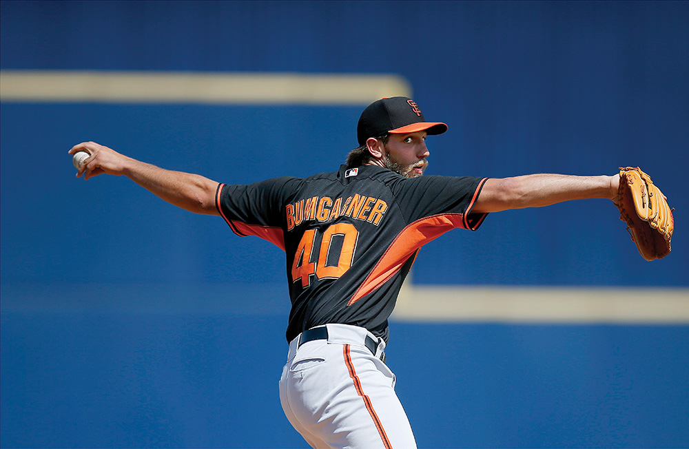 Madison Bumgarner was the MVP of the 2014 World Series, helping the San Francisco Giants win their third MLB title in five years. Photo courtesy of Ross D. Franklin/AP Images