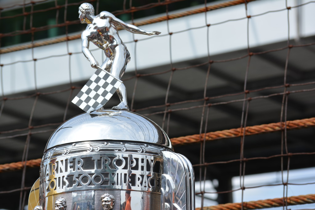 The Borg-Warner Trophy awarded to the winner of the Indy 500.
