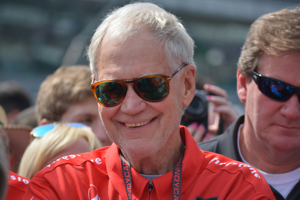 A retired David Letterman, who grew up in Indiana, was all smiles before the race.