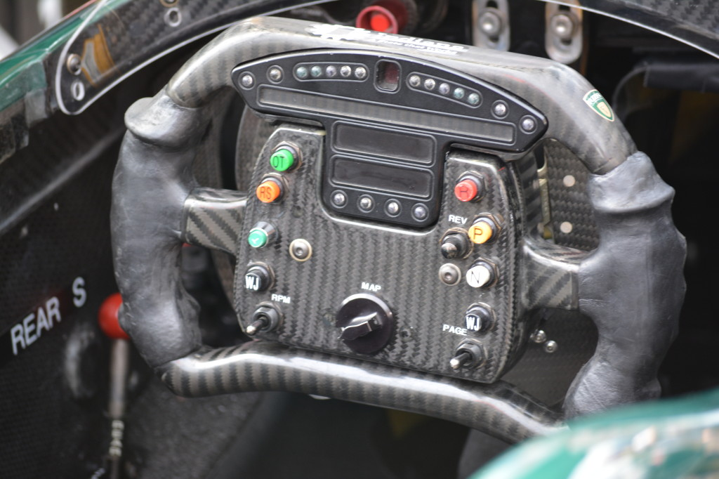 The steering wheel of an IndyCar has many options for the drivers. Cruise control is not one of them.