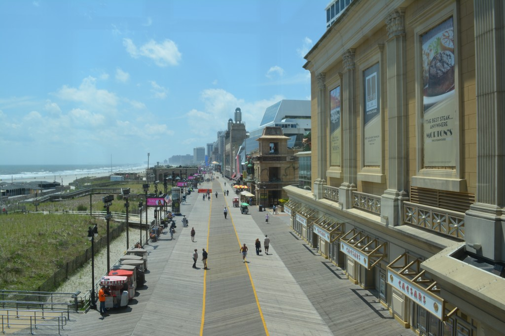 The famous boardwalk of Atlantic City, New Jersey.