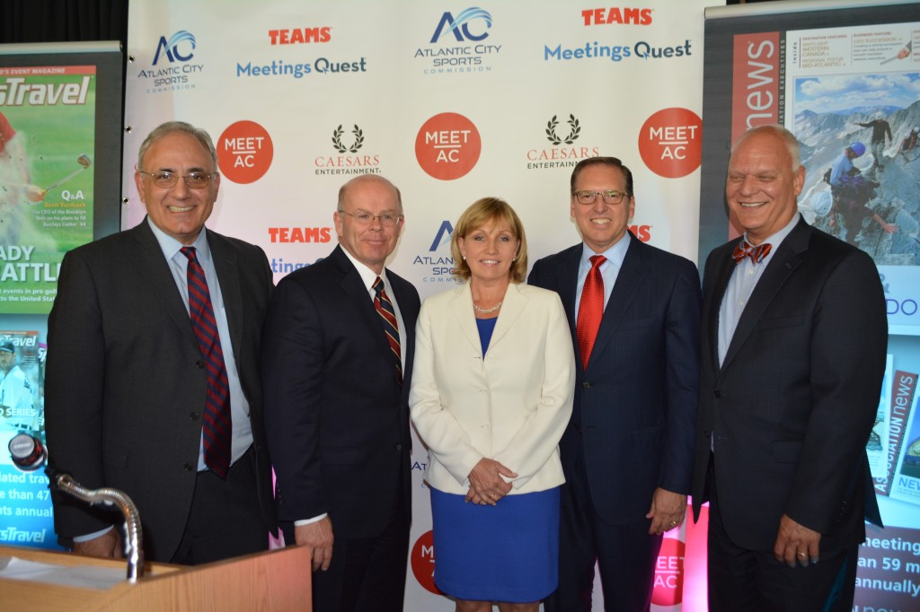 (From left) John Palmieri, executive director of the Casino Reinvestment Development Authority; Jim Wood, president & CEO of Meet AC and the Atlantic City Sports Commission; New Jersey Lt. Governor Kim Guadagno; Tim Schneider, president and CEO of Schneider Publishing; Don Guardian, mayor of Atlantic City.