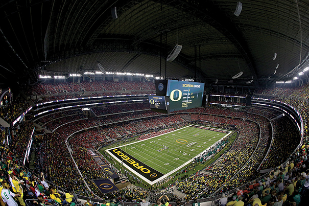 The inaugural College Football Playoff national championship was staged in January at AT&T Stadium in Arlington, Texas, and drew 85,689.  Photo by Sarah Glenn/Getty Images.