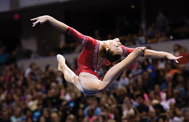Maggie Nichols was one of several elite gymnasts who competed at the 2015 P&G Championships in Indianapolis. The event set an attendance record, with more than 33,000 attending over four days. Photo courtesy of John Cheng/USA Gymnastics