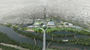 Stitch concept rendering of RFK Stadium campus. Copyright OMA, Rendering by Robota.