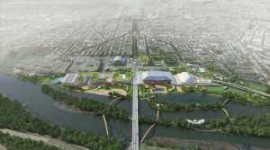 North-South concept rendering of RFK Stadium campus. Copyright OMA, Rendering by Robota.