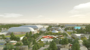 North-South concept rendering for the RFK Stadium campus. Copyright OMA, Rendering by Robota
