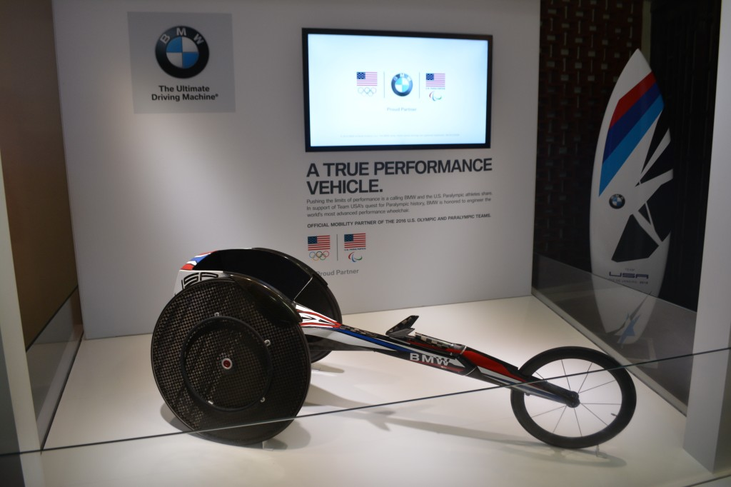 BMW is displaying a racing wheelchair it has redesigned.