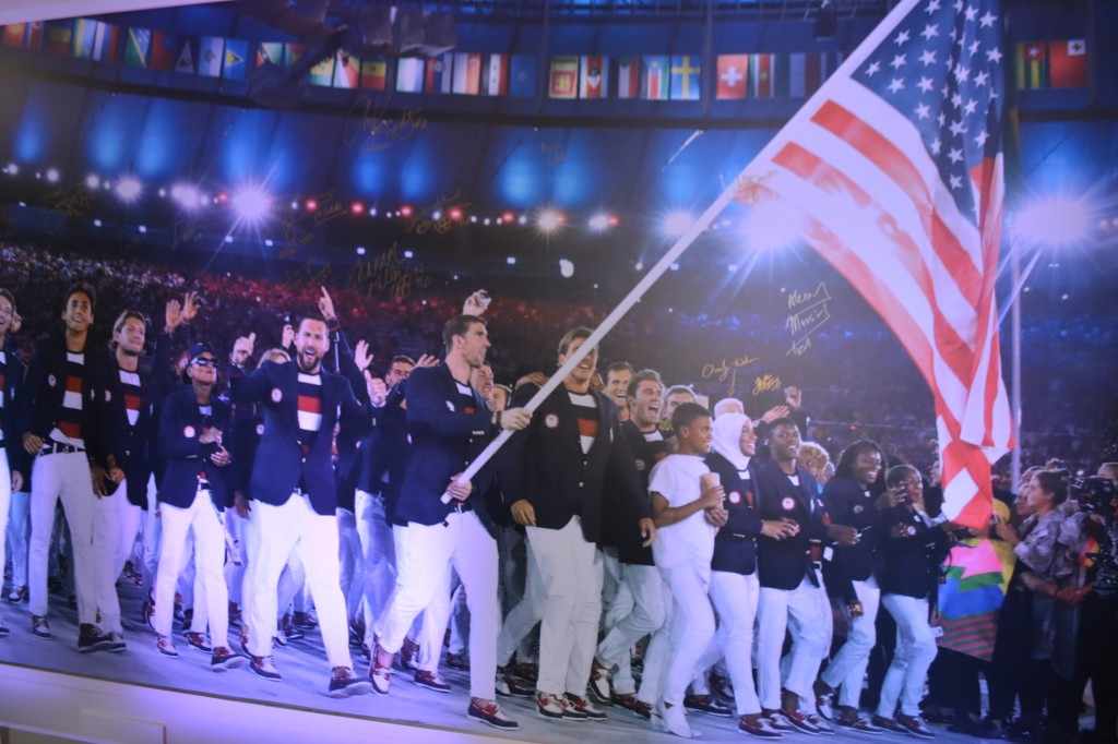 Moments after the Opening Ceremony, the USOC displayed this photo on a wall at USA House for athletes to sign.