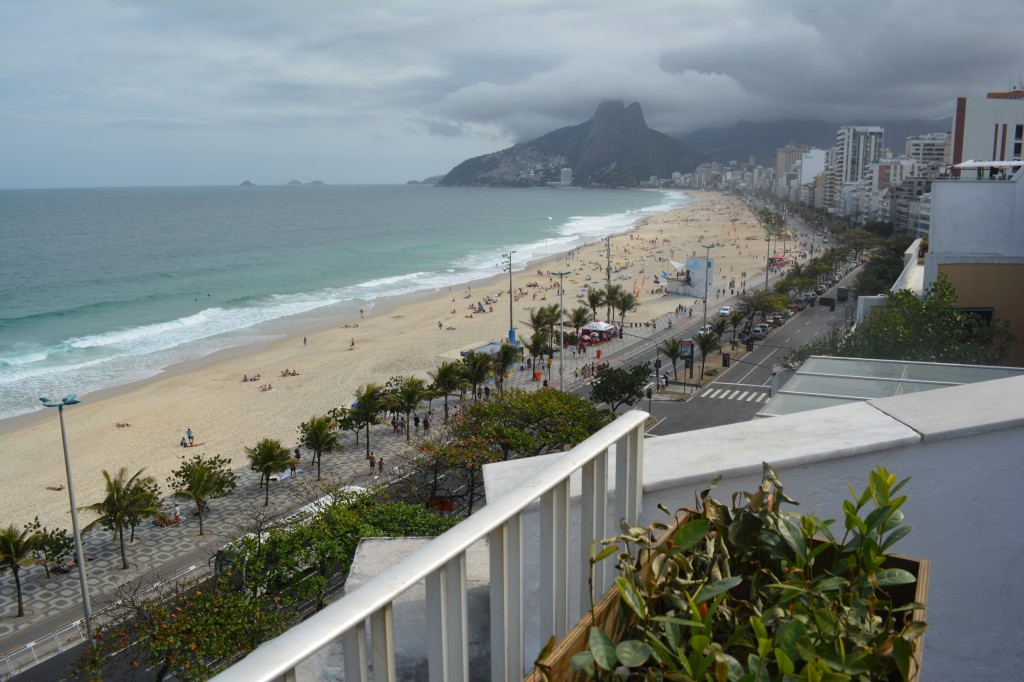 The view from the rooftop terrace overlooking Ipanema Beach.