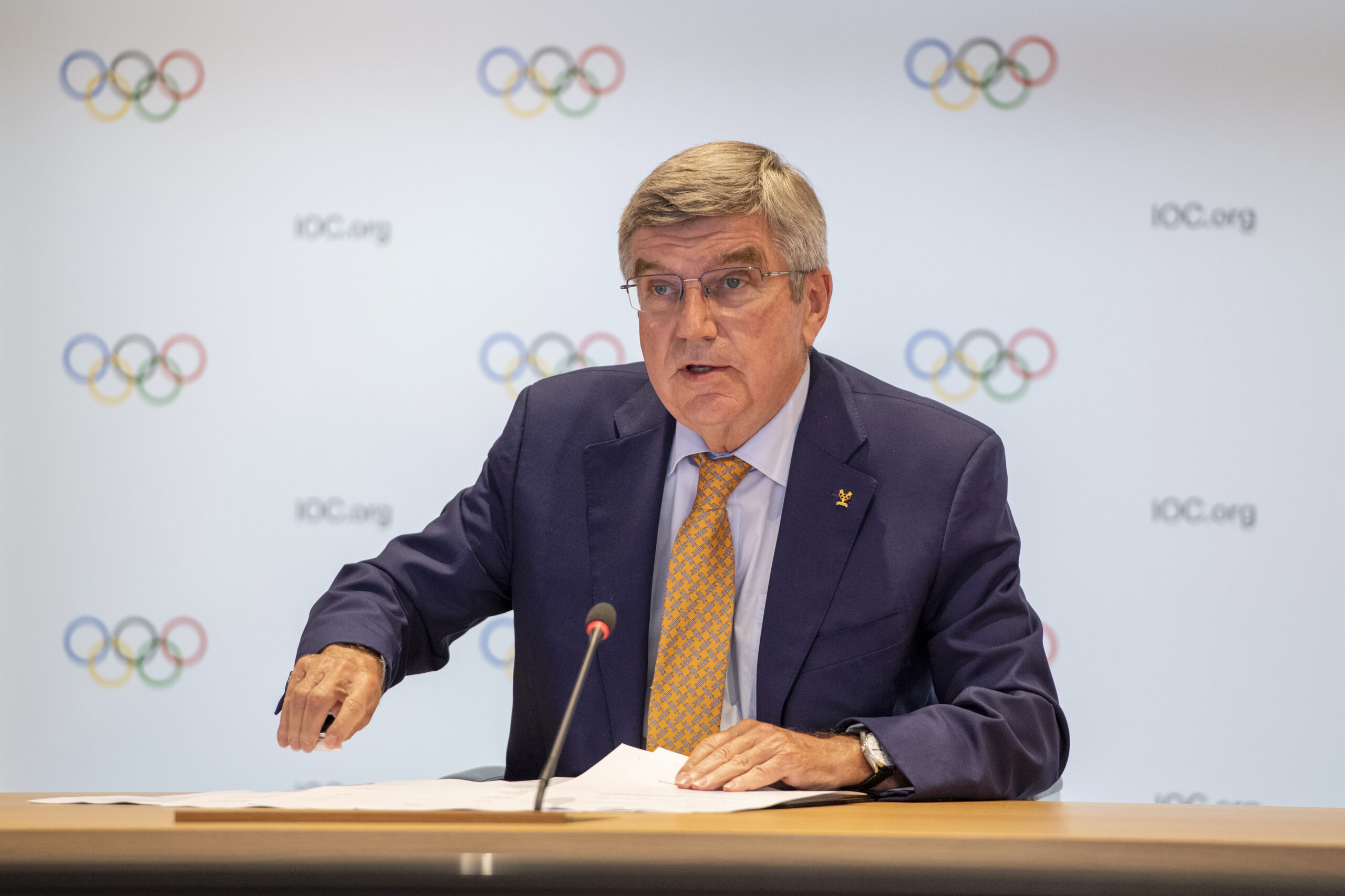 Lausanne | SwitzerlandIOC President, Thomas BACH starts the press conference after the Executive Board meeting.Copyright: IOC/Philippe Woods